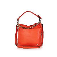 Red chain trim slouch bag