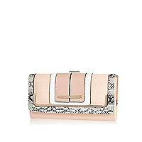 Pink and snakeskin colour block purse