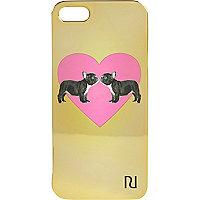 Gold bulldog heart print iPhone 5 case