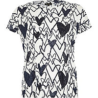 White heart print embellished t-shirt