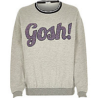 Grey gosh glitter print sweatshirt