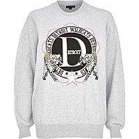 Grey Detroit print leopard sweatshirt