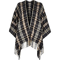 Grey tartan check blanket cape