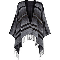 Dark grey striped blanket cape