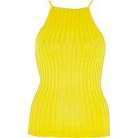 Yellow ribbed square neck fitted top