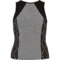 Black jacquard print cut out back top