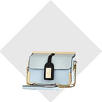 Blue luggage tag cross body bag