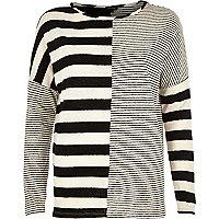 Black contrast stripe long sleeve top