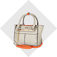 Grey orange interior mini tote bag