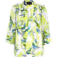 Green lily print 3/4 sleeve kimono