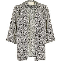 Black geometric print 3/4 sleeve kimono