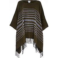 Khaki stripe blanket poncho cape