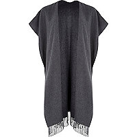 Grey maxi blanket cape