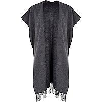 Grey maxi blanket cape