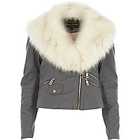 Light grey faux fur collar biker jacket