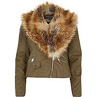 Khaki faux fur collar biker jacket