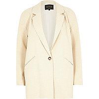 Cream waffle jacquard jacket