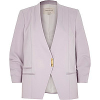 Lilac ruched sleeve blazer
