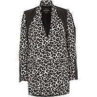 Black animal jacquard print jacket