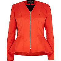 Orange jacquard peplum jacket