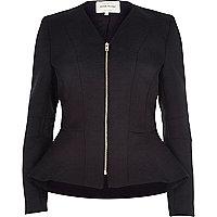 Black jacquard peplum jacket