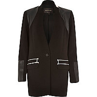 Black structured leather-look panel jacket