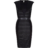 Black textured mesh plunge bodycon dress