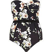 Black floral print mesh detail swimsuit
