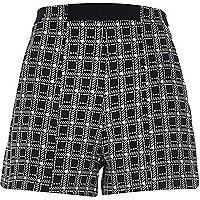 Black square print high waisted shorts