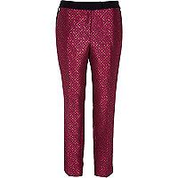 Pink jacquard print cigarette trousers