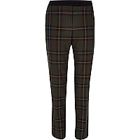 Green check cigarette pants