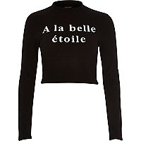 Black a la belle etoile turtle neck crop top