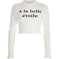 White a la belle etoile turtle neck crop top