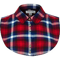 Red tartan check shirt collar bib