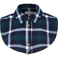 Dark green tartan check shirt collar bib
