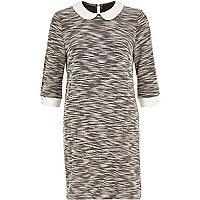 Grey boucle knit shift dress