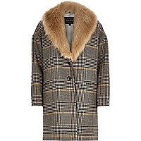 Brown check faux fur collar swagger coat