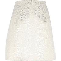 Gold jacquard print A-line skirt