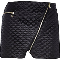 Black quilted mini pelmet skirt