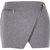 Grey wool mini pelmet skirt