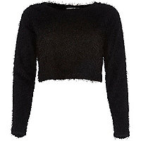 Black Chelsea Girl fluffy crop top