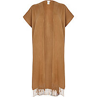 Light brown maxi blanket cape
