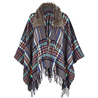 Grey check faux fur trim cape
