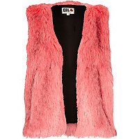 Pink Chelsea Girl cropped faux fur gilet