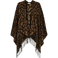 Brown leopard print blanket cape