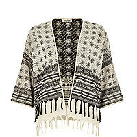 Cream Aztec print woven cropped cape