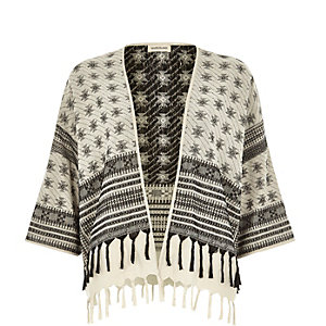 Cream print woven cropped kimono