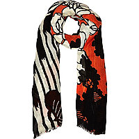 Red 60s floral print lightweight scarf