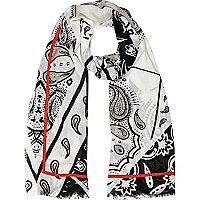 Grey lightweight paisley print raw hem scarf