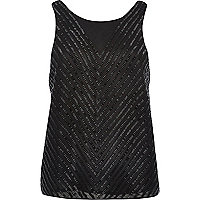Black sleeveless embellished vest